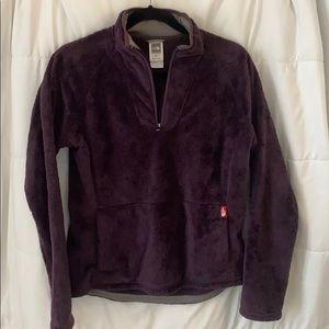 Purple half zip North Face sweatshirt